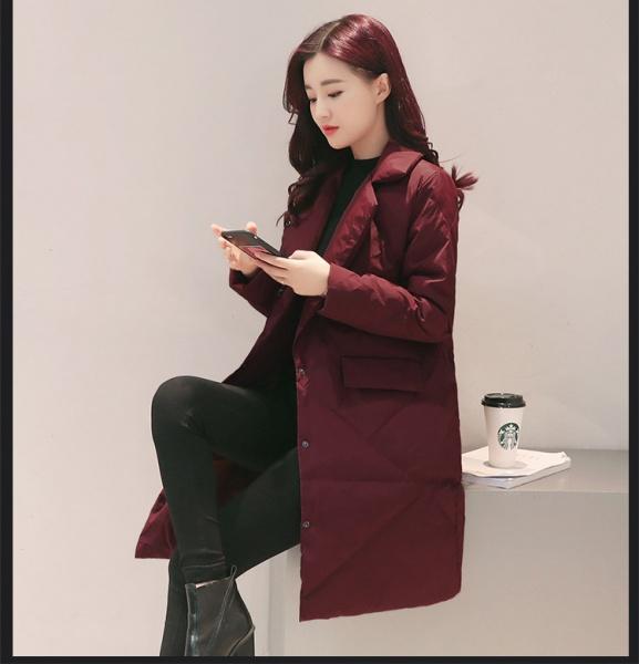 Каждый день специальное предложение тонкий длина хлопок женщина корейский костюм воротник тонкий сверхлегкий тонкий хлопок одежда ватник пальто