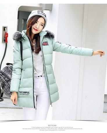 2016 новинка зимний осеннний корейский женщины подбитый длина воротник хлопок печать хлопок женская одежда пальто